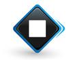 icône marche arrêt sur bouton carré bleu design