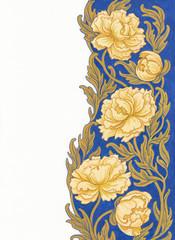 Растительный орнамент с белыми пионами.