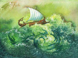 Иллюстрация к греческому мифу, монотипия.