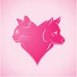 coeur en forme de chat et chien