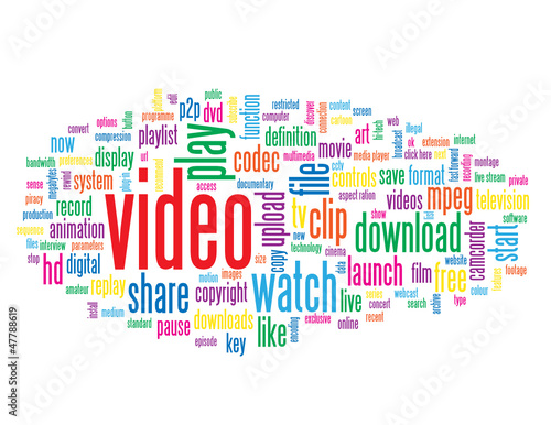 """VIDEO"" Tag Cloud (play watch view media player clip button)"