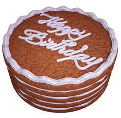 Happy birthday: cake with greeting words isolated