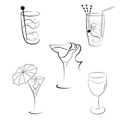 Set of cocktails and wines