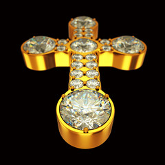 Jewelery: golden cross with diamonds over black