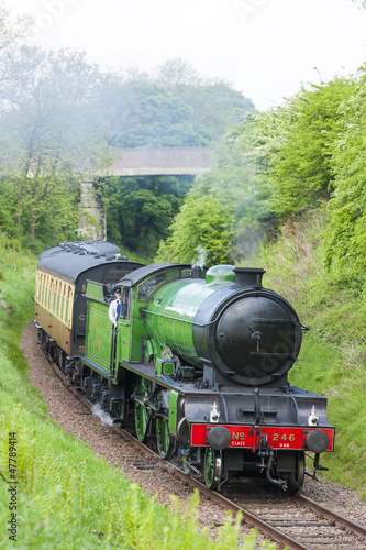 pociąg parowy, Bo'Ness Kinneil Railway, Lothians, Szkocja
