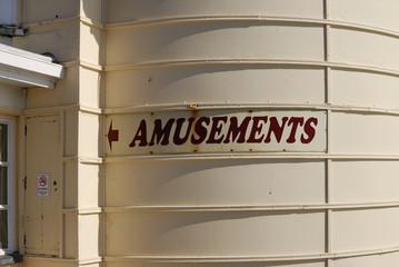 Amusements sign on Worthing pier. England