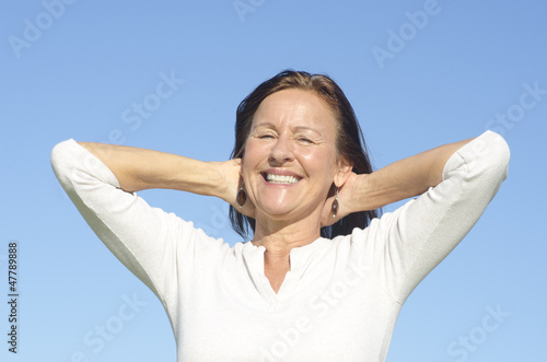 Joyful senior woman isolated outdoor
