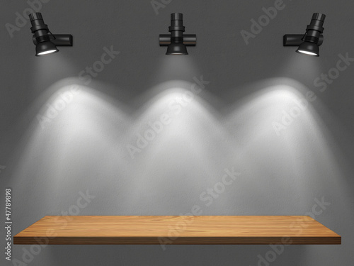 Empty shelf illuminated by spotlights