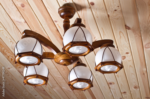 wooden chandelier on the ceiling
