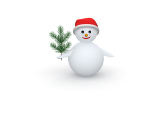 Snowman with Santa Claus hat and pine branch on white background