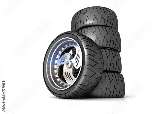 New wheels isolated on white