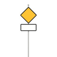 Blank yellow and rectangular road sign