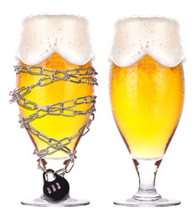 alcoholism concept - beer locked on a chain