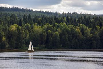 Sailboat on Lipno lake, Czech Republic.