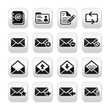 Email mailbox vector buttons set