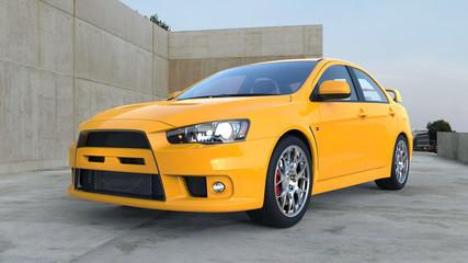 Yellow Car Outside