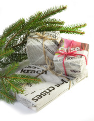 gifts covered with newspaper