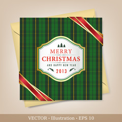 Greeting Christmas and New Year card. Vector Illustration.