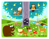 Fototapety Animals and tree.