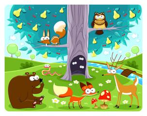 Animals and tree.