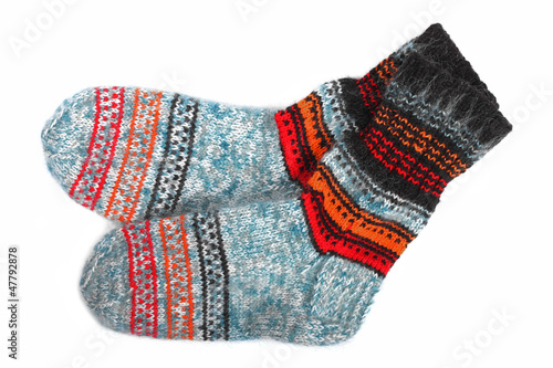 colorful wool socks isolated on white