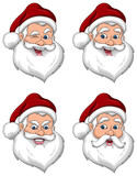 Santa Claus Various Expressions Face Side View