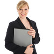 Smiling businesswoman or manageress
