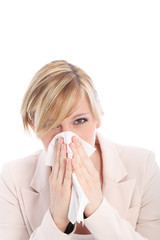 Woman with a cold or hay fever