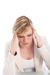 Woman with a migraine or headache