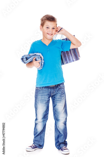 Boy holding shopping bag