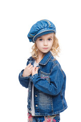 Little calm girl in jeans portrait
