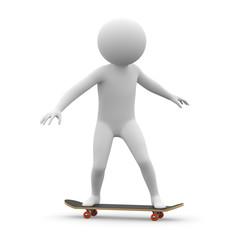 3d human - skateboard