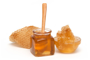 Honey and Honeycomb in the glass