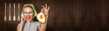 Happy funny woman cook with fried egg - web banner crop concept