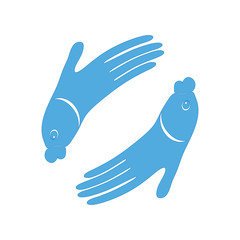 Fish hand design icon