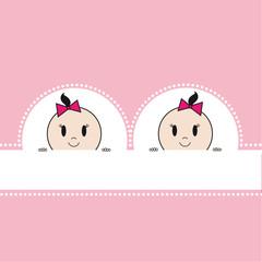 Zwillinge Karte rosa