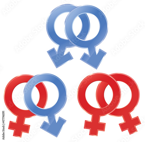 Male and female symbols.  Gay, lesbian