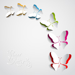 Greeting card with paper butterflies - vector