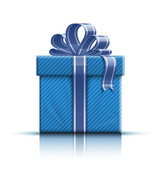 Blue gift box with ribbon and bow