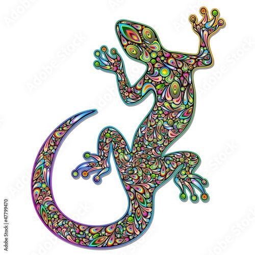 Gecko Geko Lizard Psychedelic Art Design-Geco Psichedelico