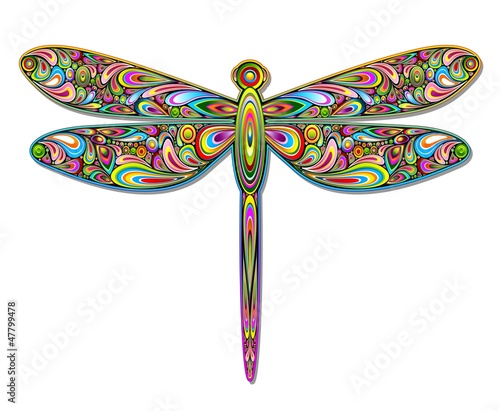 Dragonfly Psychedelic Art Design-Libellula Pop Art