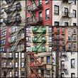 Collage de façades avec escalier de secours - New-York