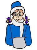 Hand drawn, vector, cartoon illustration of snowgirl