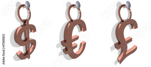 3D Dollar euro pound labels