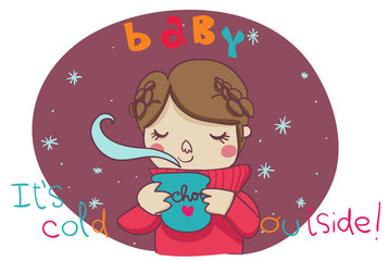 baby it's cold outside illustrazione cartoon