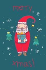 Babbo natale con regalo cartolina illustrata