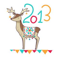 cartolina renna buon 2013