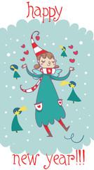 cartolina buon anno fatina elfo
