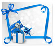 Holiday background with blue gift bows with blue ribbons. Vector