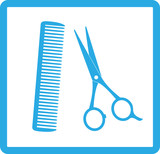 blue sign of barbershop